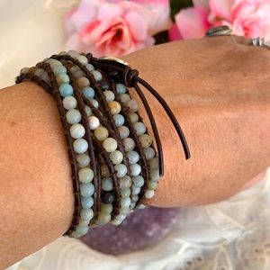 Leather & Semiprecious Stone Wrap Bracelet